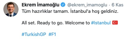 F1 Grand Prix of Turkey tweet 2020