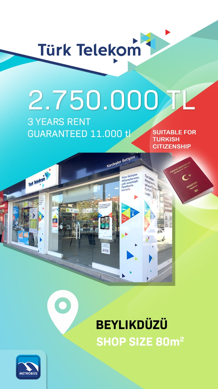 New Turk Telekom Commercial Store For Sale in Istanbul