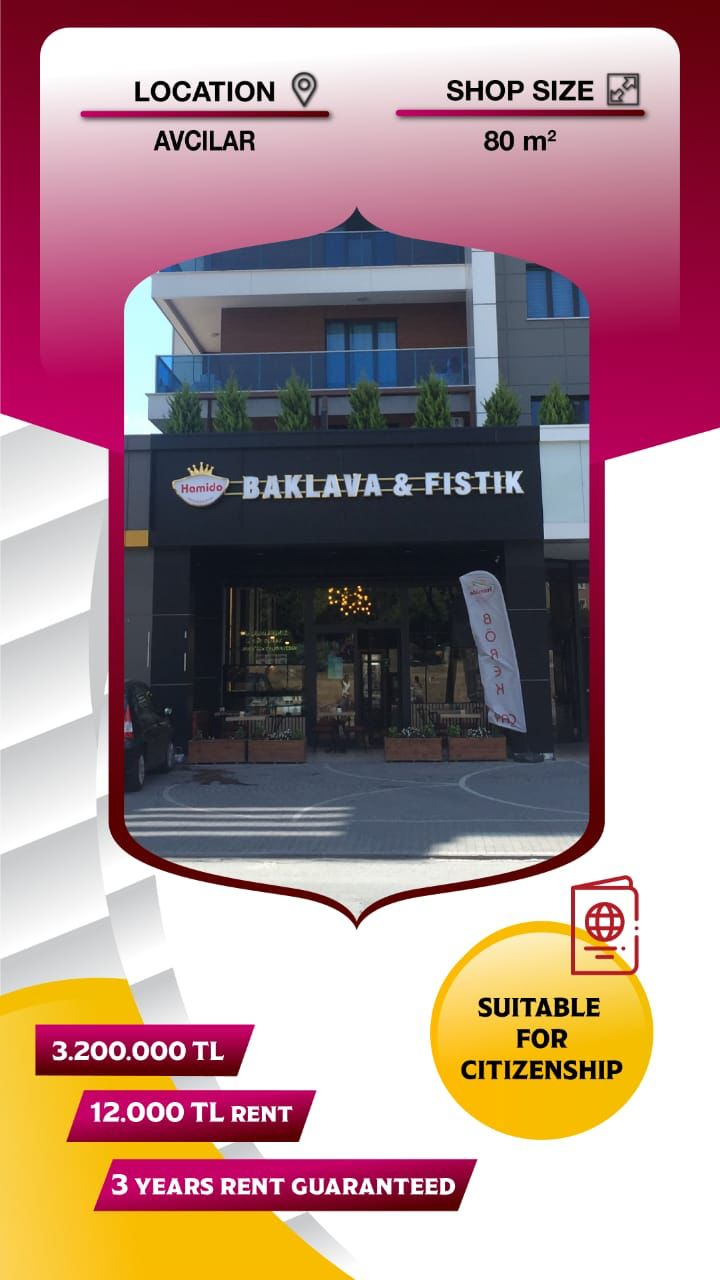 baklava and fistik Commercial Store For Sale in Istanbul