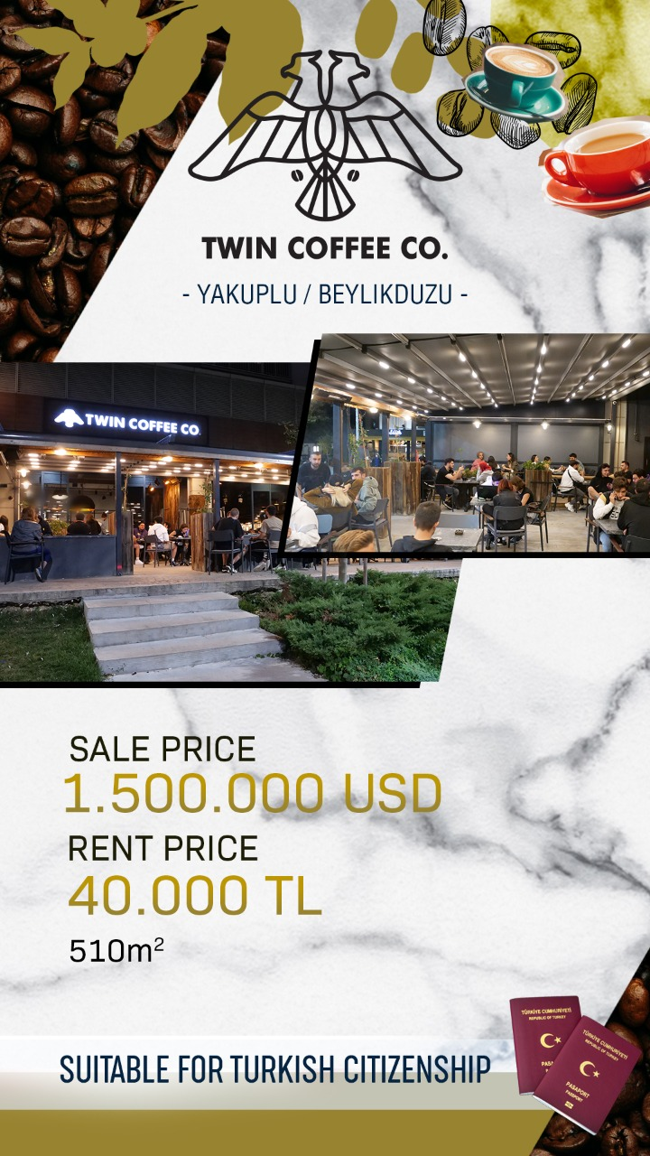 twin coffee commercial store for sale in istanbul